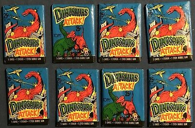 8 Packs Of Topps Dinosaurs Attack! 1988 Cool Trading Cards
