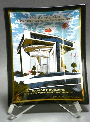New York World's Fair 1964 1965 Heliport Building Glass Ash Tray by Houze Art