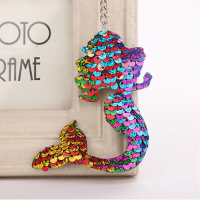 Colorful Sequins Mermaid Tail Keychain Charms Pendants Fish   Girls Gifts B
