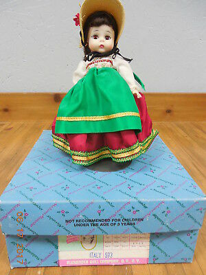 "Vintage Madame Alexander 8"" ""Italian"" International Doll with Stand & Box <"