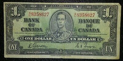Bank of Canada 1937 $1 One Dollar Gordon-Towers S/L Prefix VG-F King George VI