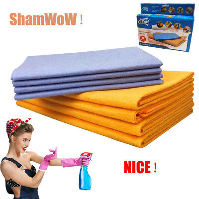 8-Piece Set Super Absorbent Towels Super Sham Wiping Rags Shamwow Towel US