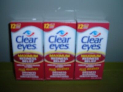 3 New Clear Eyes Maximum Redness Relief Lubricant Sterile Eye Drops 1/20 & 4/20