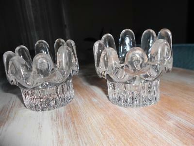 "X 2 Vintage ""RETRO"" Glass Candle HOLDERS"