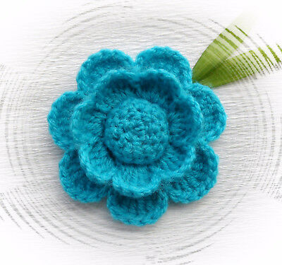 Crochet Brooch Applique Turquoise Blue Acrylic Flower*