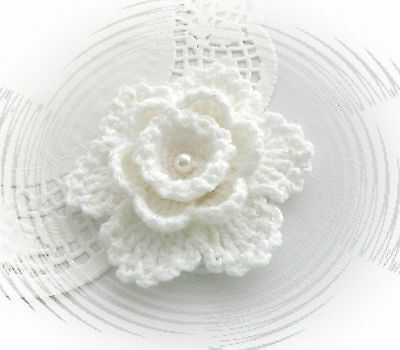 Crochet Brooch Applique White Shimmer  Acrylic Flower Snowflake*