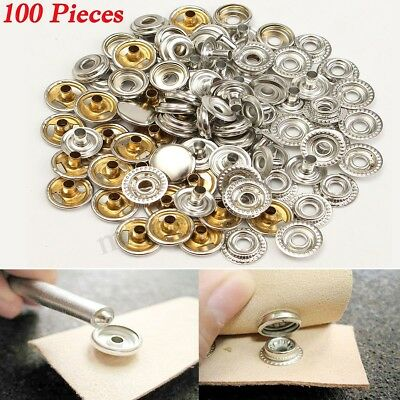 100X Stainless Steel Fastener Snap Set Marine Grade Stud Cap Socket DIY Tool Kit