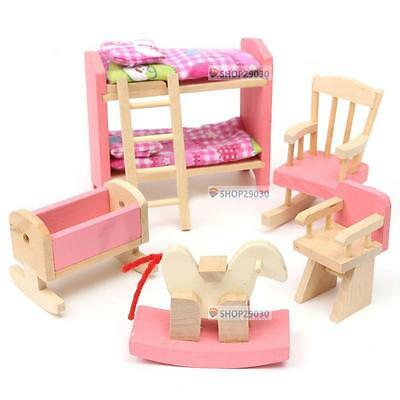 Wooden Nursery Room Doll House Furniture Miniature For Kids Play Toy Gift Hot EV
