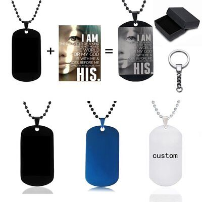 Stainless Steel Personalized Engraved Photo Dog Tag Pendant Necklace Key Chain