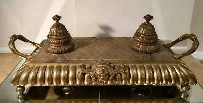 Antique French Bronze Inkwell Ink Stand w Minerva