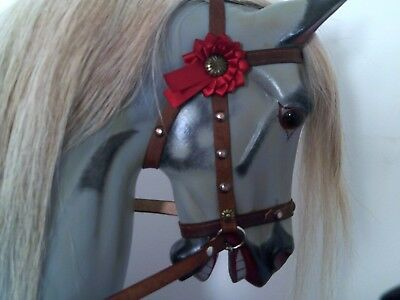 Nail On Bridle Set For Rocking Horse With Ribbon Rosettes. (Free postage)