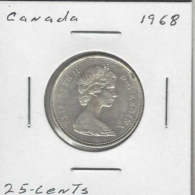 1968 25C Canada 25 Cents,  Silver