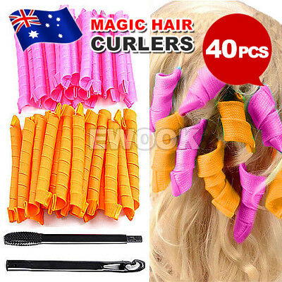 40Pcs 50cm Magic Hair Curlers Formers Curl Leverage Rollers Spiral Ringlets AU