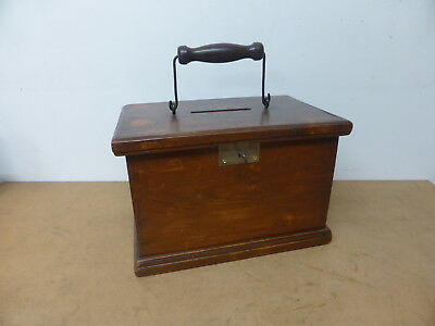 Vintage Small Pine Box with Metal + Wood Turned Handle Lock + Key Grand Stand 1