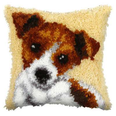 Terrier (Small) Latch Hook Cushion Front Kit. Orchidea, 25x25cm Printed canvas