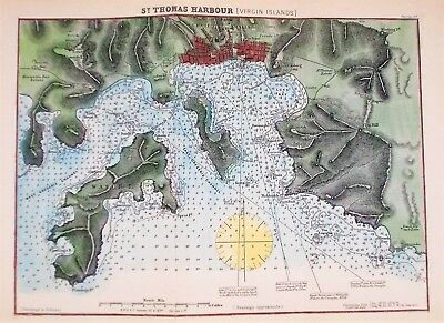 OLD ANTIQUE MAP SEA CHART ST THOMAS VIRGIN ISLANDS c1880's CARIBBEAN NAVIGATION
