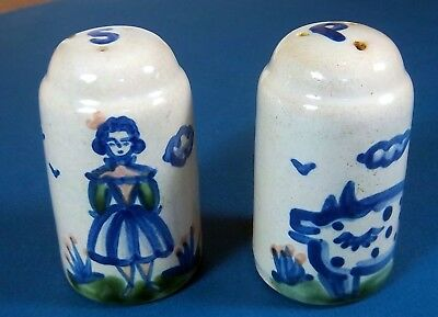 M. A. Hadley Salt & Pepper shakers - Lady Farmer & Pig
