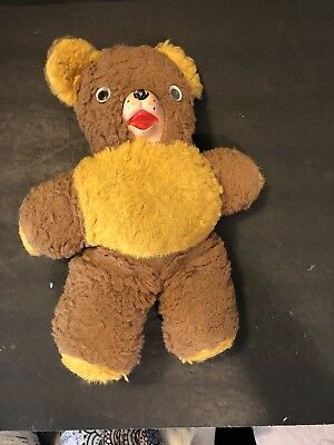 Vtg Swiss Tone Wind Up Musical Teddy Bear Rubber Nose Face Works Rockabye Baby