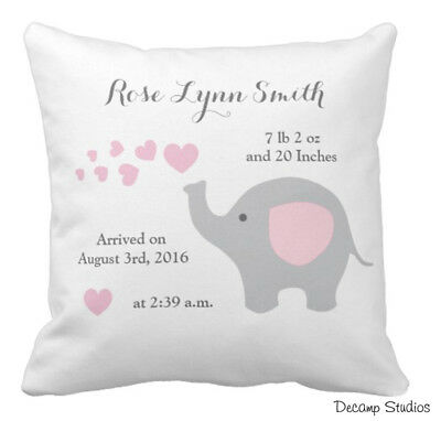 0d04645d4edb4 PERSONALIZED BABY GIRL Pink Elephant Nursery Pillow Birth Stats Announcement