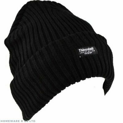 Mens Boys Plain Black Hat       (((((( Winter Warmth )))))))  Thermal Beanie