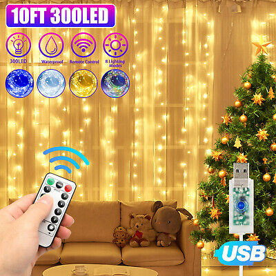 300LED Curtain Fairy Lights USB String Light Party Wedding Home w/Remote Control