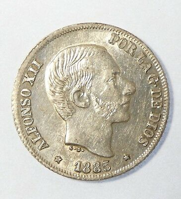 1885 PHILIPPINES Alfonso XII Silver 10 Centimos Coin ALMOST UNCIRCULATED