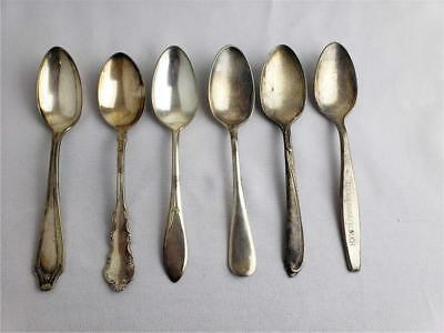 = Lot of 6 Vintage Silverplated Spoons RWS WM Rogers CAW Co Rockford Reed Barton