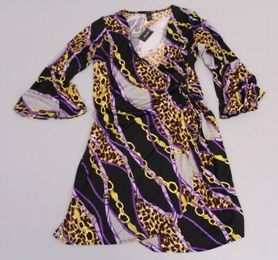 8c5da0b05d723 Ashley Stewart Women s Print Bell Sleeve Wrap Dress SI4 Purple Size 18 20  NWT
