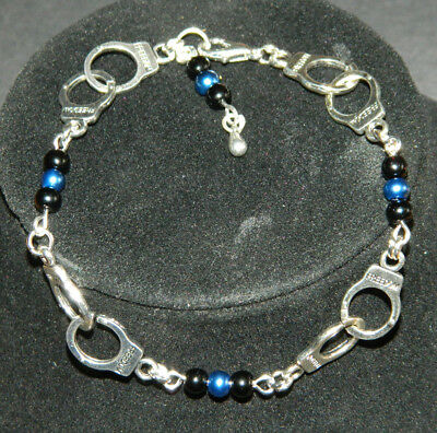 Pearl Silver Handcuffs Charm Bracelet Police Thin Blue Line You Pick Colors