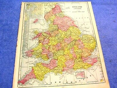 Antique Map Of Englalnd & Wales W/ Light Houses, Bays, Ports. Beaches       1899
