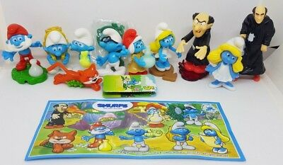 Kinder 2017, Schlümpfe, Smurfs, Puffi, with 2 variants, compl. set with all Bpz