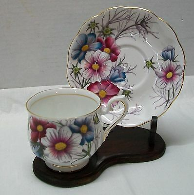 Cosmos Bone China Teacup and Saucer  Royal Albert Flower of the Month Vintage