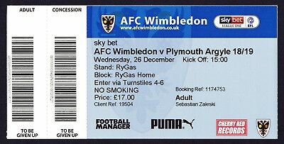 AFC WIMBLEDON v PLYMOUTH ARGYLE 2018/2019 (26th December) Mint Condition Ticket