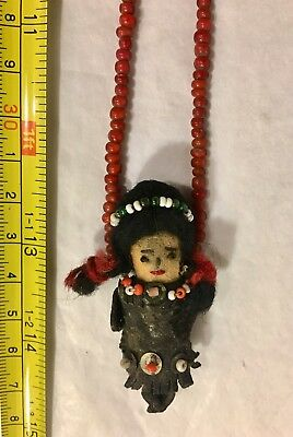 "Antique Old Fetish Necklace With Doll Pendant 26"" Long"