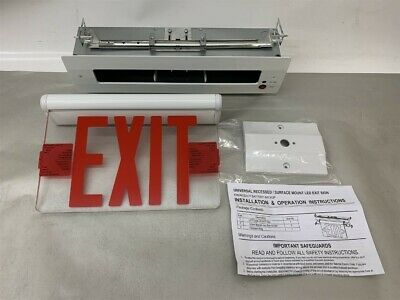 "New Contech Universal Recessed Surface Mount Red LED ""EXIT"" Sign, Battery Backup"