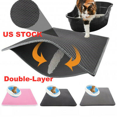 US Double Layer Cat Litter Box Mat Trapper Foldable Pad Pet Rug EVA Foam F2
