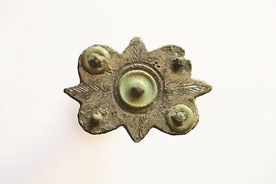 Stunning 1st Century Roman Plate Brooch With Enamel & Complete With Pin