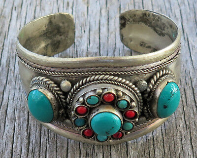 Faux Turquoise Coral Vintage Hand Crafted Hammered Hippy Vintage Cuff Bracelet