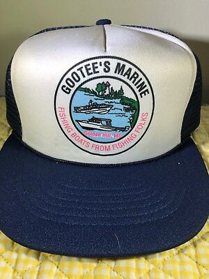 9fc46a60015 Vintage Gootee s Marine Trucker Hat Mesh Snapback Cap Made in USA Fishing