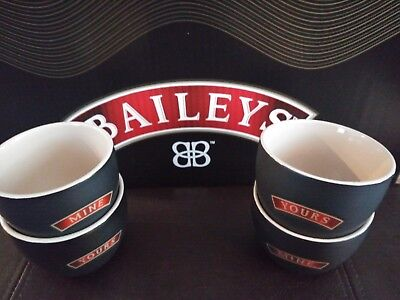 "(2 set DEAL) 4 Baileys Irish Cream Collectible 8oz. Bowls  Ceramic 3.5""x 3"""