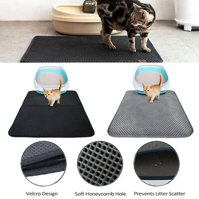 US Double Layer Dog Cat Litter Box Mat Trapper Foldable Pad Pet Rug EVA Foam F2