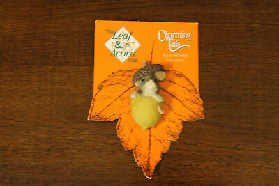 """Fitz and Floyd Charming Tails Leaf & Acorn Club Exclusive Mouse in Acorn Pin 2""""~"""