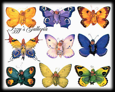 Gifted Line Anne Geddes Vintage Baby Butterflies Purple Green Teal Stickers