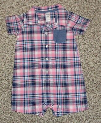 2619732fb70f NEW CARTERS BOYS Size 12 Months Pink Blue Plaid Romper 1 Piece ...