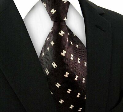 New Mens Plaid WOVEN JACQUARD Silk Men's Suits Tie Necktie Coffee Beige N280