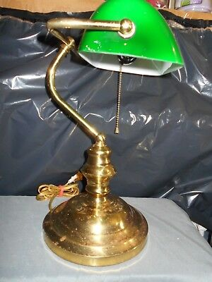 Nice Art Deco Bankers,lawyer,student Articulating Lamp-Green Glass Vtg