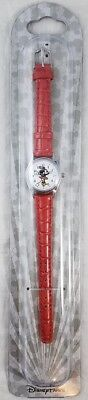 Disney Parks Minnie Mouse Quartz Watch Moves Hands Silver Tone Red Band Ladies
