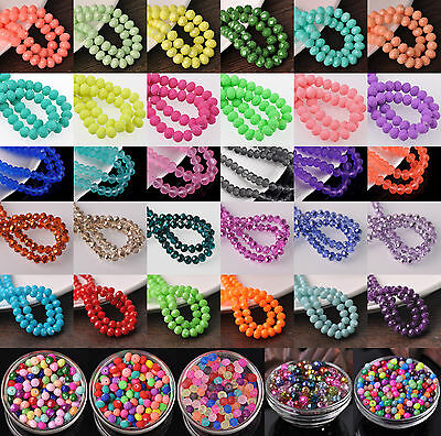 Bulk Crystal Glass Rondelle Faceted Charms Loose Spacer Beads 4mm 6mm 8mm 10mm