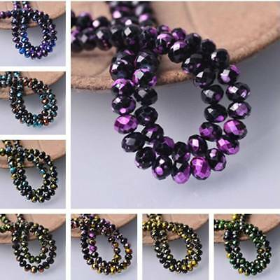 8mm Wholesale Rondelle Faceted Spots Coated Glass Loose Spacer Beads DIY Jewelry
