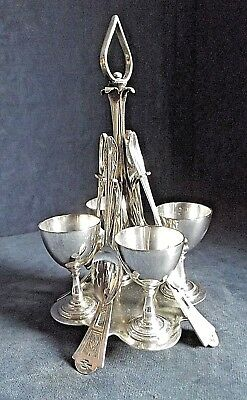 SUPERB ~ SILVER Plated ~ 9 Piece ~ EGG Cup Breakfast SET ~ c1890 by Alsop Rhodes
